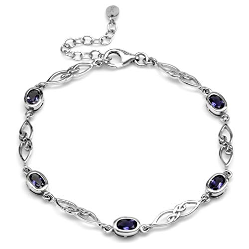 Silvershake 1.7ct. Natural Iolite White Gold Plated 925 Sterling Silver Celtic Knot 7.25 to 8.75 Inch Adjustable Bracelet