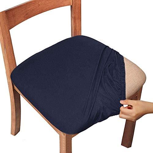 チェアカバー 座面カバー 椅子カバー 伸縮素材 4枚セット 耐久性 洗濯可能 取り外し可能 家庭 ホテル ウェディング パーティー用 ダイニングチェアカバー(ブルー)