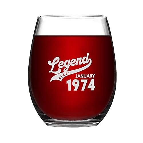 Legend From January 1974 - Copa de vino sin tallo, diseño de copa de vino de noche con ideas para el día de la independencia, día del padre, amiga, mamá, marido, esposa, novia.