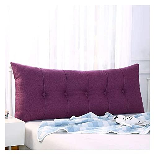 Leinen Sofa Daybed Kissen Wedge weiche Kopfkissen Bedside Bed Zurück Positionierung Unterstützung Lendenkissen milchig weiß 180x60x20cm (Color : Purple, Size : 150x60x20cm(59x24x8inch))