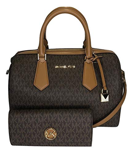 Bundle of 2 items: MICHAEL Michael Kors Hayes Large Duffle Satchel bundled with Michael Kors Fulton Flap Continental Wallet (Signature MK Brown/Acorn) Top zip closure, Double top handles, adjustable removable shoulder cross body strap Interior : 1 ma...
