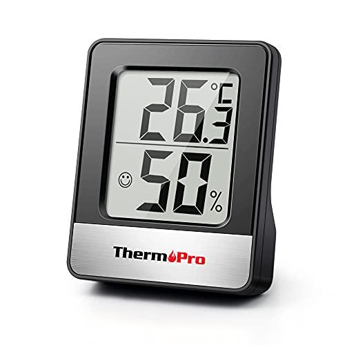 ThermoPro TP49 Mini Termómetro Higrómetro Digital Termohigrómetro de Interior Medidor de Temperatura y Humedad para Medir Ambiente del Hogar, Negro