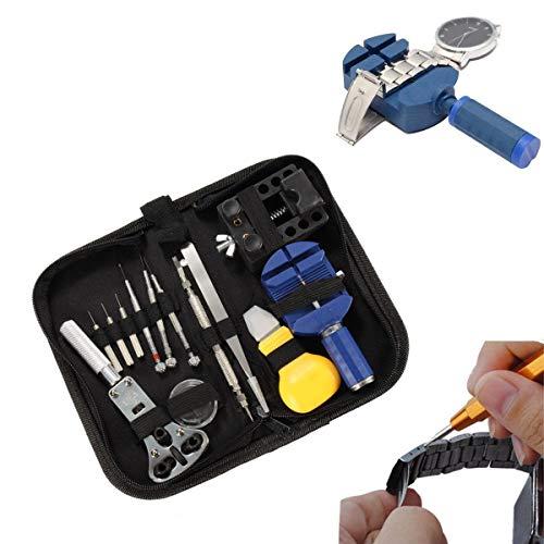 KAV 886871064972 13-delige professionele polshorloge reparatie tool kit en rits case hoes case accu opener Link schroevendraaier achterkant verwijderaar