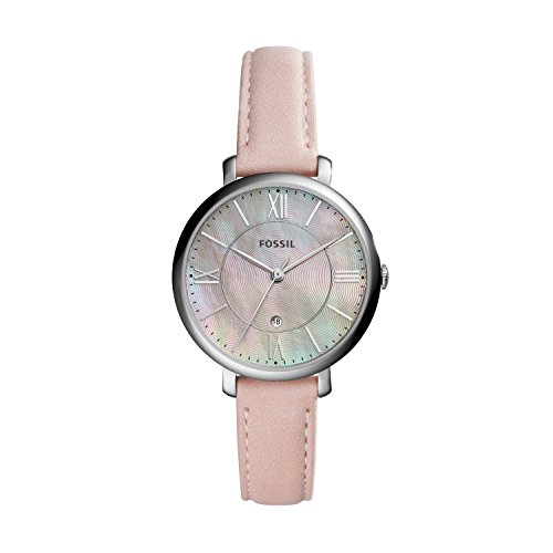 Fossil Women's Jacqueline Quartz Leather Three-Hand Watch, Color: Silver/Mother of Pearl, Blush (Model: ES4151)