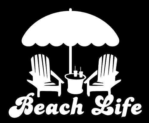 LLI Beach Life   Decal Vinyl Sticker   Cars Trucks Vans Walls Laptop   White   5.5 x 4.6 in   LLI1234