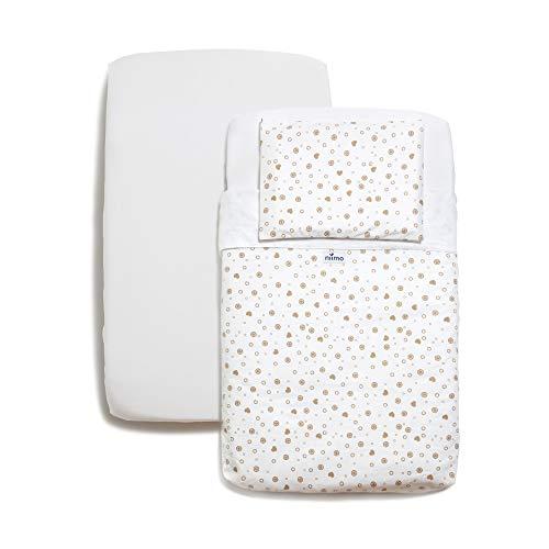 Niimo Bettlaken Set 3 passend für Next to Me Bettlaken 100% Baumwolle passend für Kinderkraft UNO Chicco Lullago Next 2 me Hush Venture 50x83 (Taubengrau Herzen)