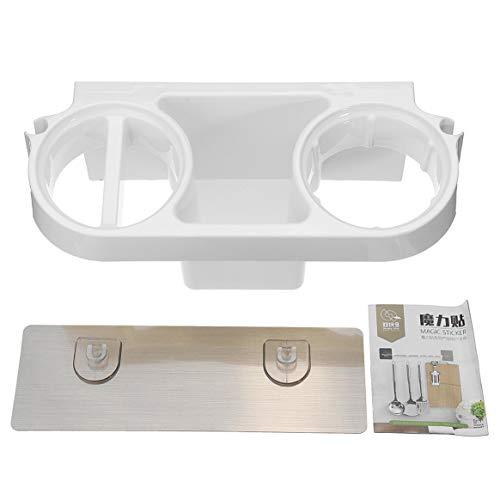Séchoir à cheveux Porte-peigne Support de rangement pour salle de bain Support mural auto-adhésif pour shampooing lisseur - Blanc