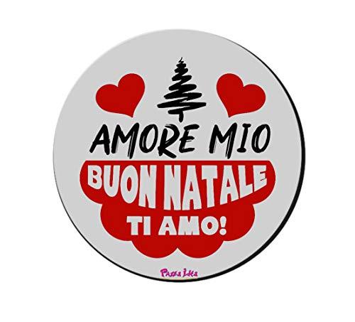 Mouse Pad Tappetino pc Rotondo Scritta Amore Mio Buon Natale Ti Amo Regalo