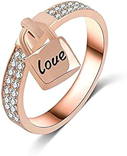gold plated Ring decorated with a small lock with love word (size 7)