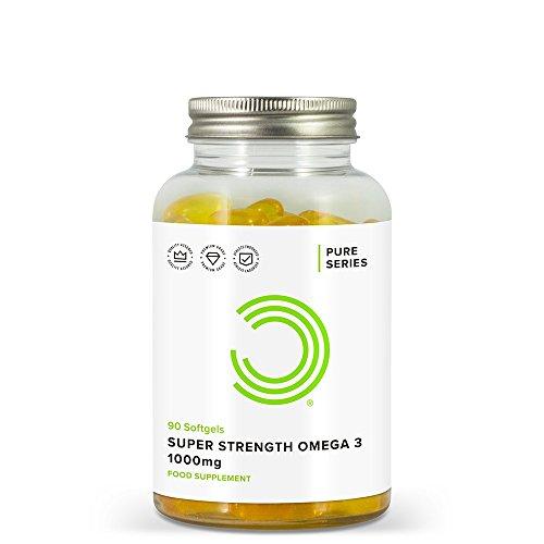 Bester der welt Bulk Powder Extra Strength Omega 3 Softgels, Fischöl, 1000 mg, 90 Kapseln