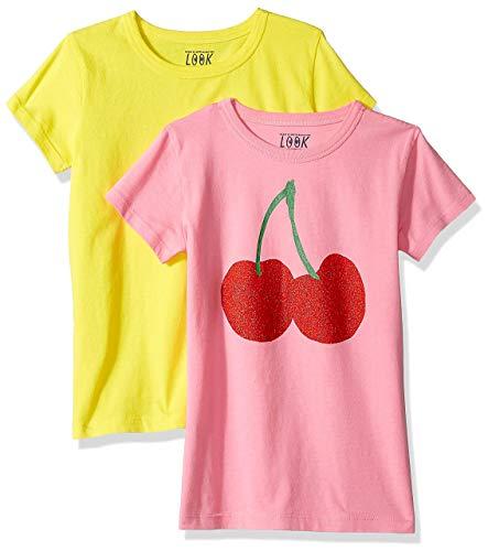 Marca Amazon / J. Crew - LOOK by crewcuts Camiseta de manga corta para niña, liso/estampado (2 unidades)