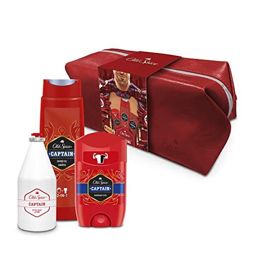 Old Spice Geschenkset Captain Kulturbeutel Für Männer Mit Deodorant Stick 50ml, 2-in-1 Duschgel + Shampoo 250ml, After Shave Lotion 100ml