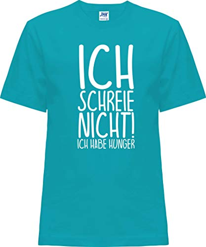 Kleckerliese Baby Kinder T-Shirt Kurzarm Sprüche Jungen Mädchen Shirt Nicki mit Motiv Ich Schreie Nicht! Ich Habe Hunger, Turquoise, 1 Jahr
