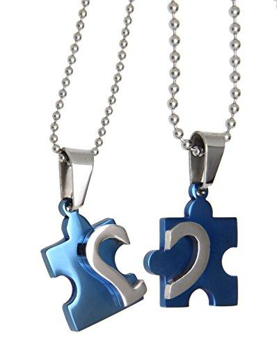 Partner de colgante Juego de piezas de puzzle Azul PVD Acero inoxidable para él y para ella
