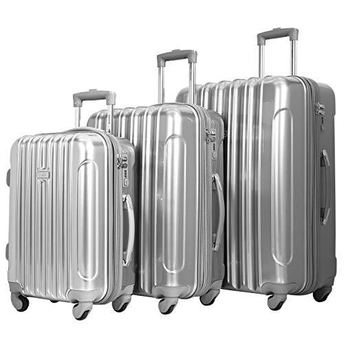 kensie 3 Piece 'Alma' Light Metallic Style TSA-Lock Spinner Luggage Set, Silver Option