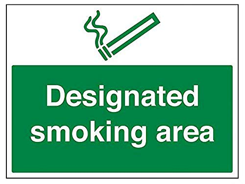 VSafety Designated Smoking Area Segnale di proibizione – 400 mm x 300 mm – Vinile autoadesivo