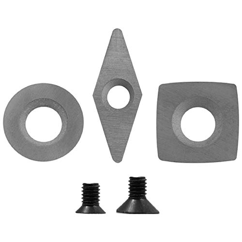 3 piece Large Carbide Turning Tool Replacement Cutter Set. 1 each Square, Round and Diamond Shaped Cutters