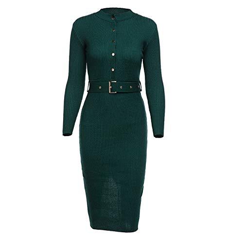 Groene Plaid Vrouwen Sweater Jurk O Hals Volledige Mouw Sjassen Stretchs Knielengte Gebreide Jurk