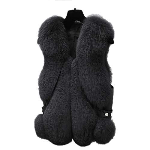 ZANZAN Gilets Damen-Weste, warm, ärmellos, mit Taschen, langer Stil, kurz, dunkelgrau, Größe: XL