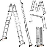 Boudech - RIG-4x4 Escalera plegable multiusos de aluminio con plataforma de andamio para andamio.