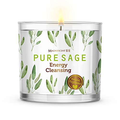 Pure White Sage Smudge Candle for House Energy Cleansing, Banishes Negative Energy I Purification and Chakra Healing - Natural Soy Wax Tin Candle for Aromatherapy (14oz)