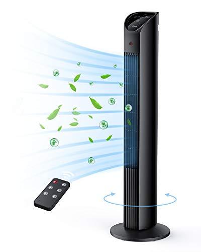 TECHVILLA Ventilatore a Torre con Telecomando/Timer 12 Ore, Tower Fan 36 pollici , Ventilatore a Colonna Oscillante a 75° con 3 Modi 3 Velocità, per la Casa e l'Ufficio