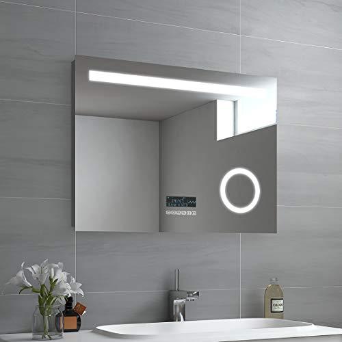 EMKE LED Badspiegel 80x60cm Badspiegel mit Beleuchtung kaltweiß Lichtspiegel Badezimmerspiegel Wandspiegel mit 3-Fach Vergrößerung, Touchschalter, Bluetooth 4.1 Lautsprecher