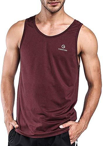 Ogeenier Men's Training Quick-Dry Sports Tank Top Shirt for Gym Fitness Bodybuilding,Burgundy,XL