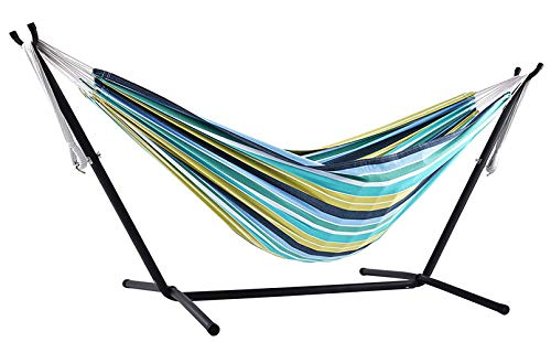 sxyp vrijstaande hangmat stalen frame, staande schommelende hangmat, 100% katoen hangmat blauw, geel en wit strepen voor buiten tuin en terras, Cayo Reef
