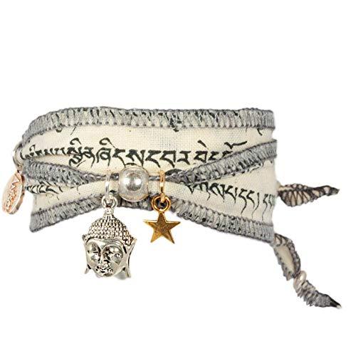 Anisch de la Cara Damen Armband Wind Buddha - Tibetan Wish Wunscharmband aus tibetischen Gebetsfahnen - tibetisches Glücksarmband - ArtNr. 3330-w