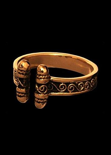 Bronzener Wikingerring mit Spiralen größenverstellbare Ring aus Bronze LARP Ring (19/60)