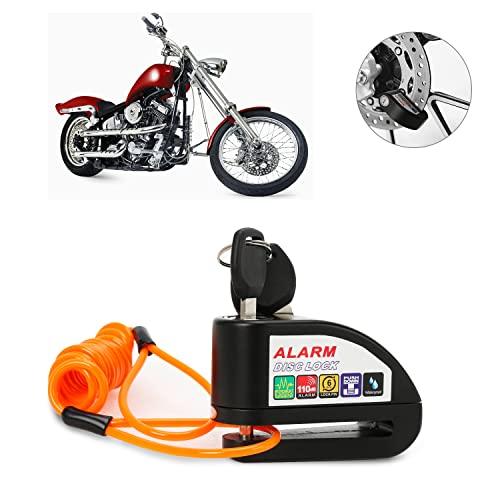 EINFEBEN Bremsscheibenschloss mit Alarmfunktion 110dB Scheibenschloss Motorradschloss Ton für Motorrad und Fahrrad, mit 1.5m Erinnerungskabel (1 Set)