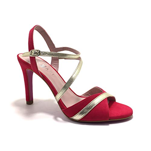 ANGARI 39014, Sandalias, Color bugambilla, de tacón, para Mujer. - Cuero Talla: 37