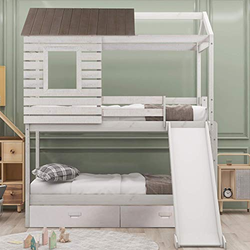 Harper & Bright Designs House Bunk Beds, Wood Bunk Beds with Roof and Guardrail for Kids, No Box Spring Needed (Antique White (Slide), Twin Over Twin)