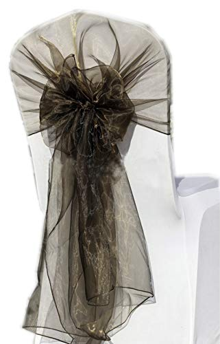 MDS Pack of 75 Organza hood Sashes Chair Sashes / Bows hoods sash for Wedding or Events Banquet Decor Chair Hood bow sash- Coffee