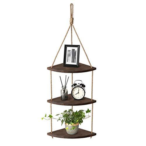 AIFUSI Estantería colgante de pared de 3 niveles, esquinera, cuerda de yute, pequeño organizador, estantería para plantas, para salón, baño, cocina, dormitorio