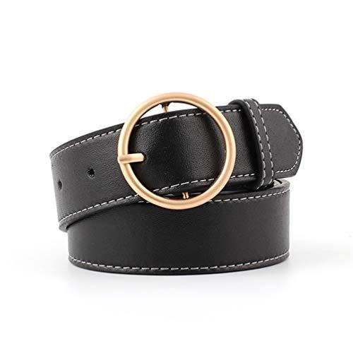 BeltKings Damen breiter Gürtel mit runder Goldschnalle Gürtel dekorativer Gürtel Schwarz