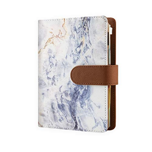 Refillable Planners with 6 Ring Binder, Personal Organizer with 2020-2022 Calendar, 6 Ring Binder Planners with Calendar, Personal Planner Notebook for Men and Women, Blue Marble – Personal Size