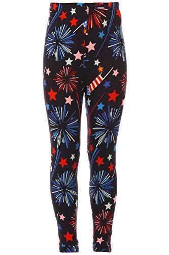 iZZYZX Kid's 4th of July Fireworks American Flag Pattern Printed Leggings - S/M