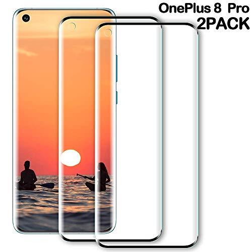 WILLONE OnePlus 8 Pro Panzerglas Schutzfolie, [2 stück] HD Ultra-klar Upgrade, Anti-Kratzer, Blasenfreie, Anti-Fingerabdruck Und Öl, 6H Härte, Panzerglas Displayschutz für OnePlus 8 Pro