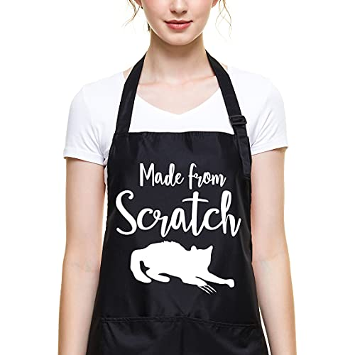 Ihopes Funny Black Baking Apron for Women Teens Baker,Cute Made from Scratch Baking Apron with 2 Pockets and Adjustable Neck Strap,Perfect for Birthday/Christmas/Thanksgiving, Large
