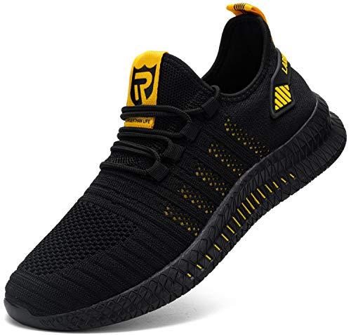 Kefuwu Zapatos de Running para Hombre Transpirables Aire Libre y Deportes Correr Asfalto Casual para Deportivas de Malla(Amarillo Negro 43)