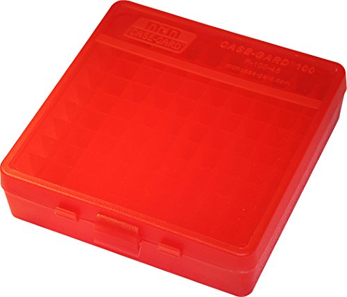 MTM 100 Round Flip-Top Ammo Box 40 45 10MM Cal (Clear Red)