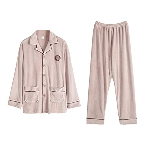 Sleepwear & Robes Pajamas Coral Fleece Couple Pajamas Thick Men's Long-Sleeved Home Service Island Cashmere Warm Suit Best Gift (Color : Apricot, Size : L)