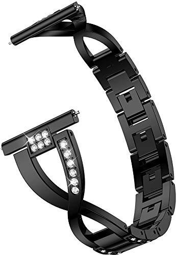 Chainfo - Correa para reloj (20 mm, 22 mm, acero inoxidable, 20 mm), color negro