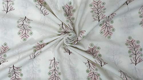Handelsster - Etnische handblokprint Fabric, Indiaas katoenen stof voor dressoiren, naaistof door de meter voor kinderen, huisdecoratiestof voor gordijn