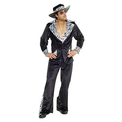 Morph Schwarzes Zuhälter Kostüm für Herren Pimp Verkleidung für Junggesellenabschied Karneval Party Kostüm - L (107-112 cm Brustumfang)