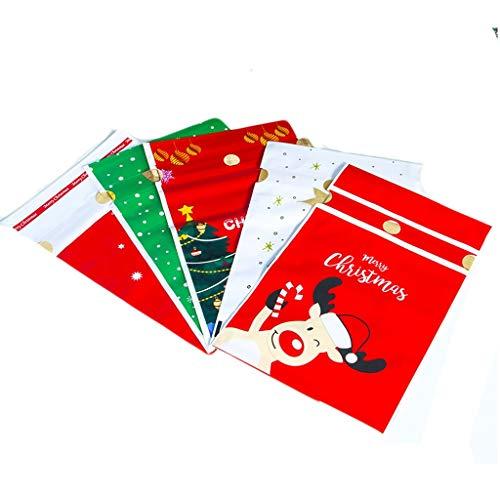 carol -1 50 stücke Weihnachten Geschenkbeutel mit Kordelzug, Urlaub Weihnachtsgeschenk Geschenk Paket Süßigkeiten Süße Tasche Kunststoff Weihnachten Goody Bags für Hochzeitstag Frohe Weihnachten