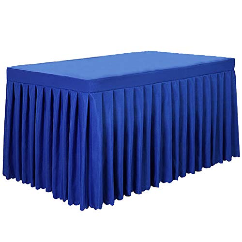 Tina 6' ft Polyester Fitted Tablecloth Table Skirt for Wedding Banquet Trade Show Royal Blue