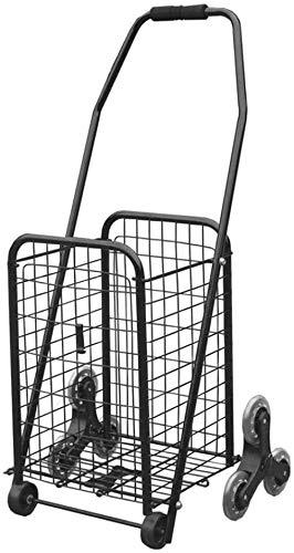 MUY Shoppingwagen Faltbare Shopping Trolley Black Luxus Treppenwagen Trolley Tragbare Dreirad Trolley eignet Sich sehr gut für den Shopping Camping 17.7 * 12.6 * 34,6 cms Warenkorb